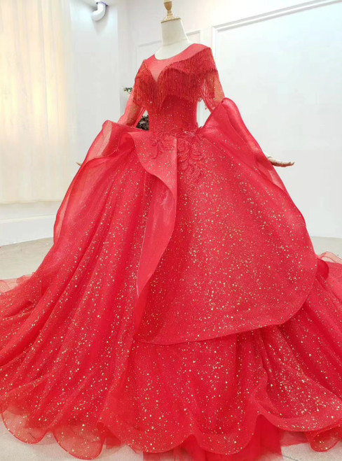 Never Miss Out On Red Ball Gown Tulle Sequins Long Sleeve Beading Appliques Wedding Dress