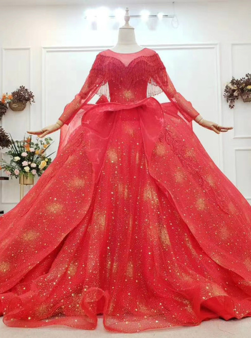You Can Be The Star Red Ball Gown Tulle Gold Sequins Long Sleeve Beading Appliques Wedding Dress