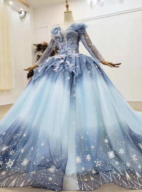 Find The Perfect Shade Of Blue Ball Gown Tulle Sequins Long Sleeve Appliques Beading Prom Dress
