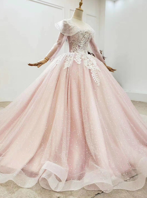 Buy From Pink Ball Gown Tulle Long Sleeve Appliques Princess Prom Dress