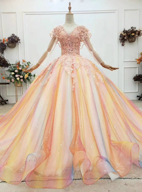 Colorful Ball Gown Tulle Long Sleeve Appliques Wedding Dress
