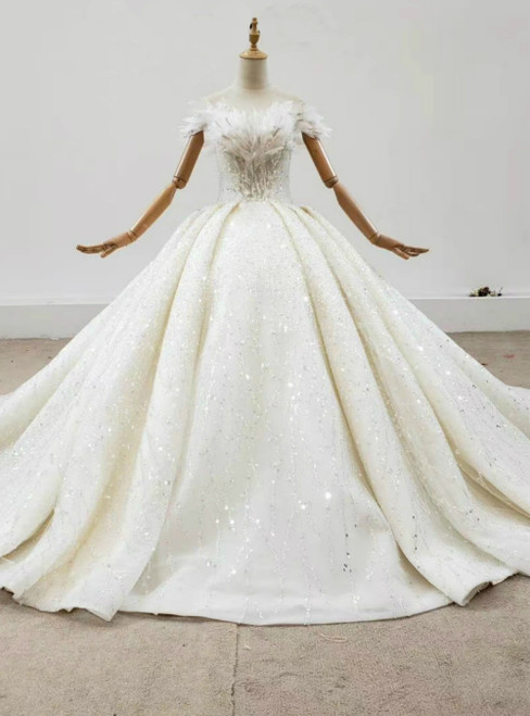 Demand Attention In Luxury Champagne Ball Gown Tulle Beading Sequins Off the Shoulder Wedding Dress