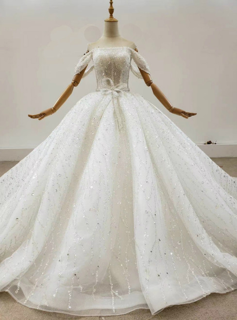 Order Your Ideal Ivory White Ball Gown Tulle Sequins Off the Shoulder Beading Wedding Dress