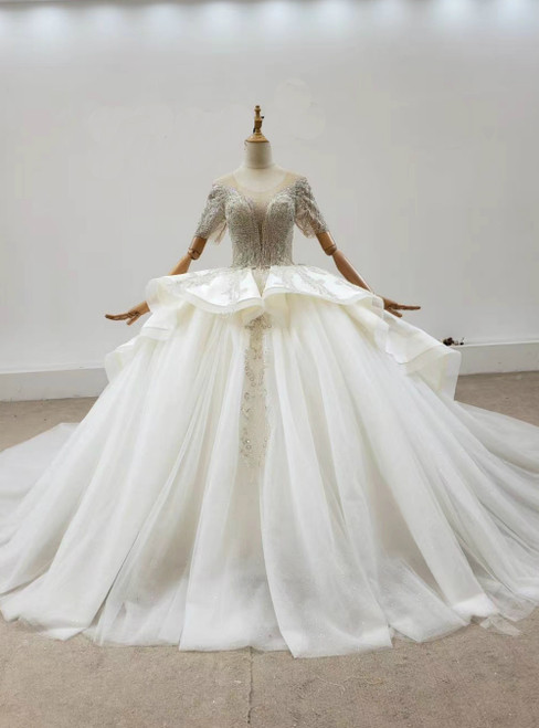 We Offer a Large Numbers Of Ivory White Ball Gown Tulle Satun Short Sleeve Backless Beading Wedding Dress