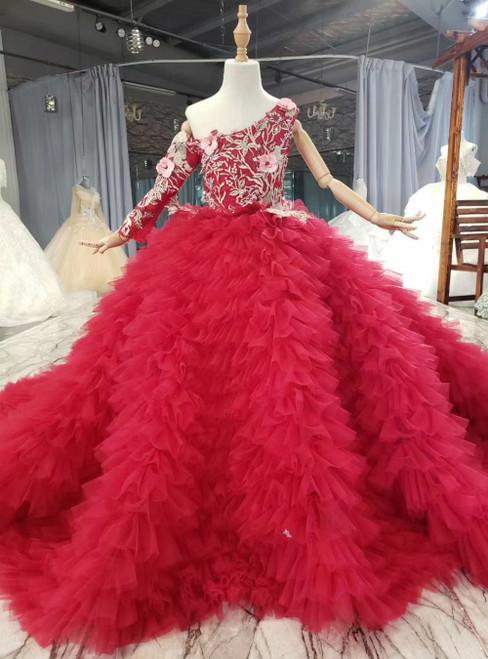 Burgundy Ball Gown One Shoulder Long Sleeve Appliques Flower Girl Dress
