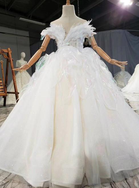 Champagne Ball Gown Tulle Backless Beading Flower Girl Dress