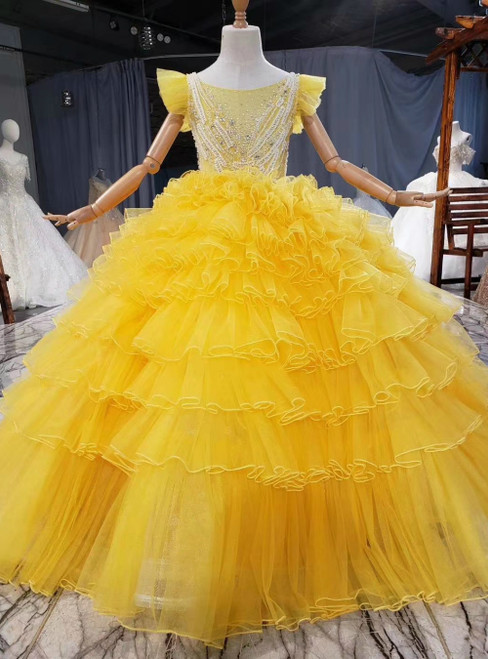 Yellow Ball Gown Tulle Beading Sequins Tiers Princess Flower Girl Dress