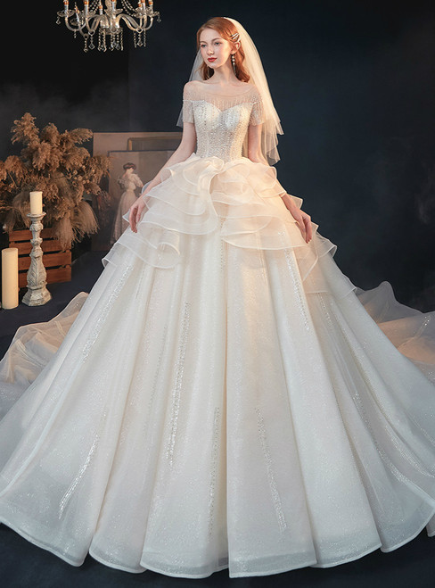 Shop For Cute Champagne Ball Gown Tulle Short Sleeve Backless beading Sequins Wedding Dress