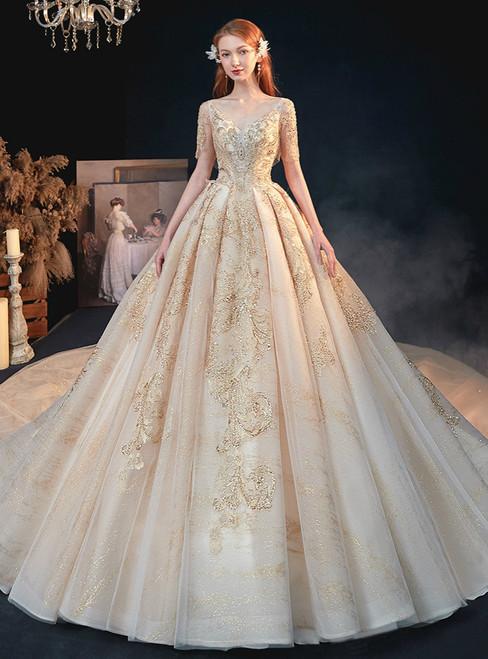 The Cheap Price Dark Champagne Tulle V-neck Short Sleeve Beading Sequins Wedding Dress