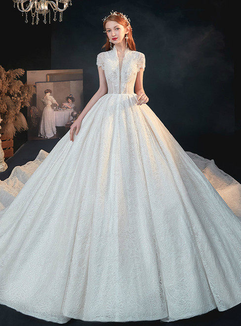 Enjoy The White Ball Gown Tulle Seuqins Lace V-neck Short Sleeve Beading Wedding Dress