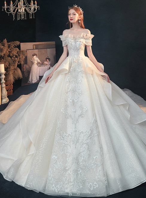 We Specialize In Custom Made Light Champagne Tulle Sequins Off the Shoulder Beading Wedding Dress