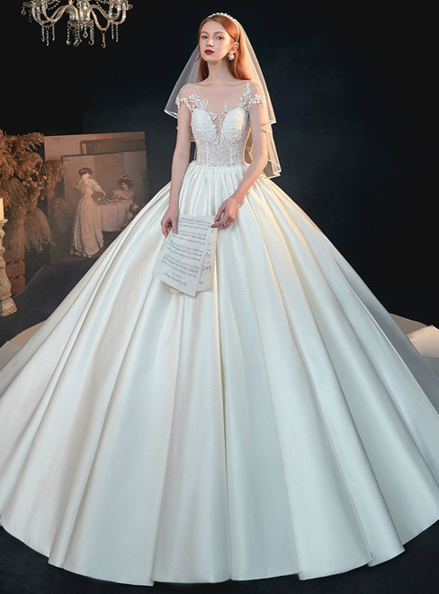 Brand New White Ball Gown Tulle Satin Cap Sleeve Appliques Beading Wedding Dress