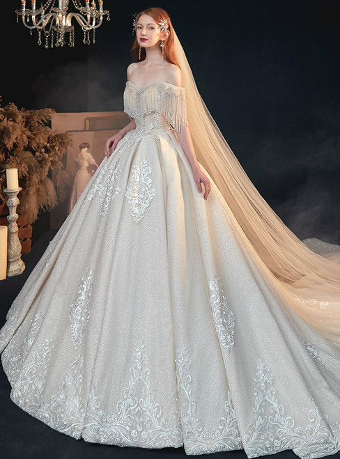 Find The Perfect Champagne Tulle Sequins Off the Shoulder Beading Appliques Wedding Dress