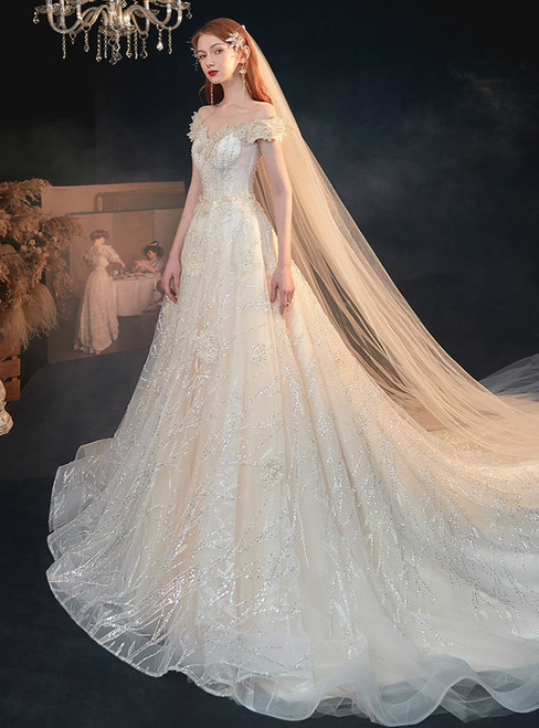 Find And Buy The Perfect Tulle Off the Shoulder Sequins Beading Champagne Wedding Dress