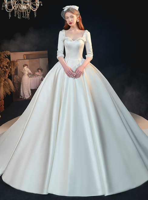 White Ball Gown Satin Square 3/4 Sleeve Beading Backless Wedding Dress