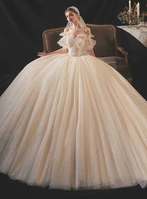 Champagne Tulle Sequins Puff Sleeve Off the Shoulder Beading Wedding Dress
