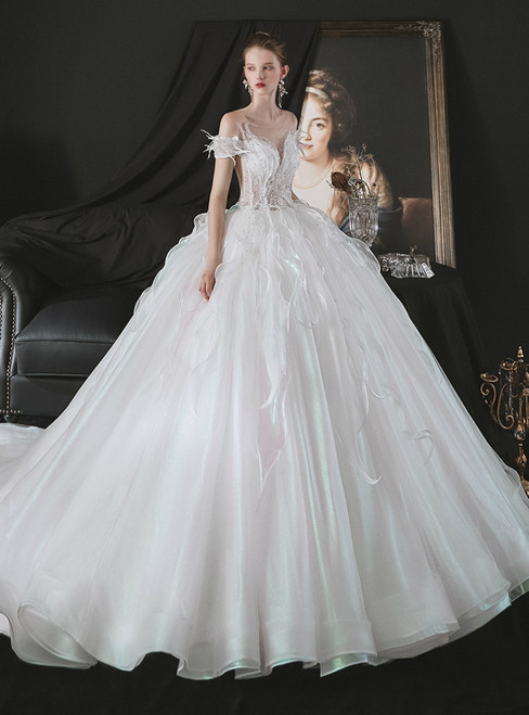 Shop Designer Sexy White Tulle Ball Gown Beading Wedding Dress With Long Train