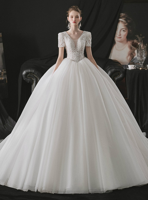 You Can Be The Star Ivory White Tulle V-neck Short Sleeve Lace Appliques Beading Wedding Dress