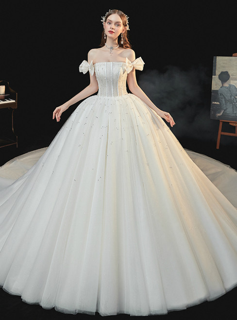 The Worldwide Shipping Online Store Chamapgen Tulle Off the Shoulder Pearls Wedding Dress With Train