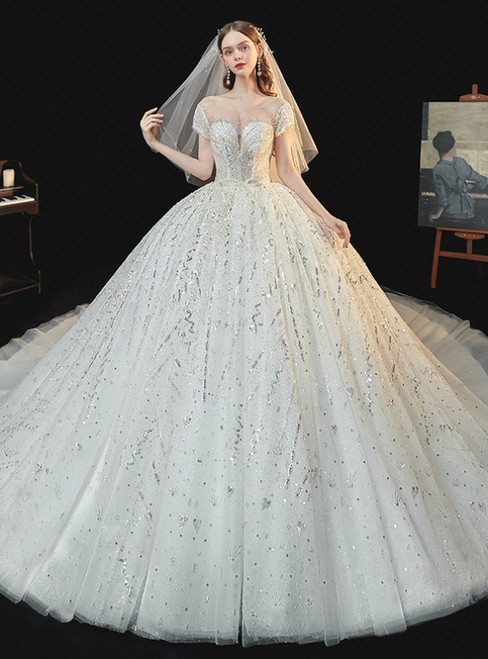 At Great Prices Light Champagne Tulle Sequins Cap Sleeve Backless Beading Wedding Dress