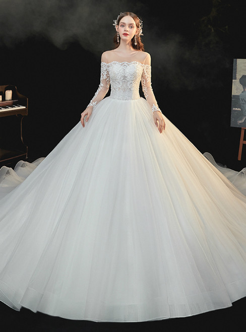 For Your Big Night Ivory White Tulle Long Sleeve Backless Appliques Beading Wedding Dress
