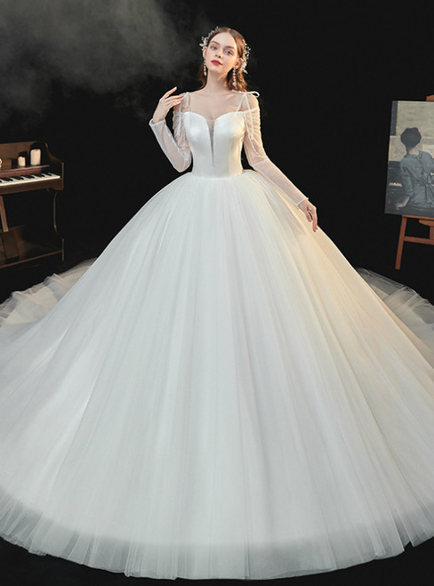 Available In Sizes 0-24 Ivory White Ball Gown Tulle Satin Long Sleeve Spaghetti Straps Wedding Dress