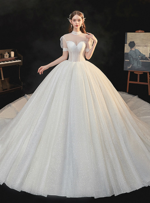 Find Your Dress For Prom! Light Champagne Tulle Sequins Short Sleeve Beading Backless Wedding Dress