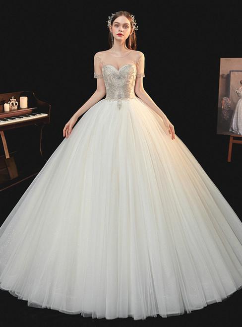 Best For You Champagne Tulle Short Sleeve Backless Beading Floor Length Wedding Dress