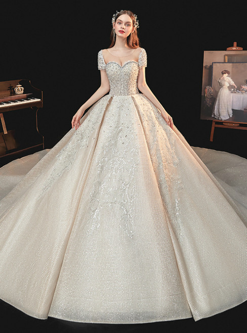 Is Now Available. Dark Champagne Tulle Short Sleeve Backless Beading Wedding Dress