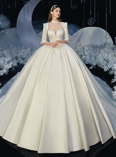 Shops Around The World Ivory White Ball Gown Satin Short Sleeve High Neck Backless Wedding Dress