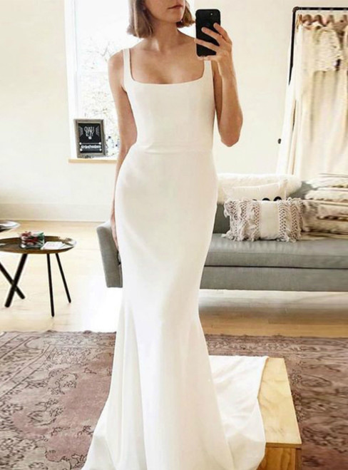 Discover The Latest Spaghetti Strap Boho Mermaid Satin Backless Wedding Dress