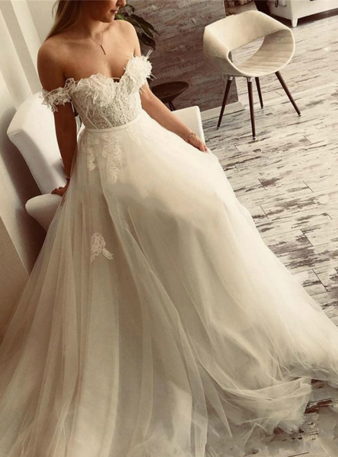 Purchase Your Favorite A-Line White Off the Shoulder Appliques Long Wedding Dress
