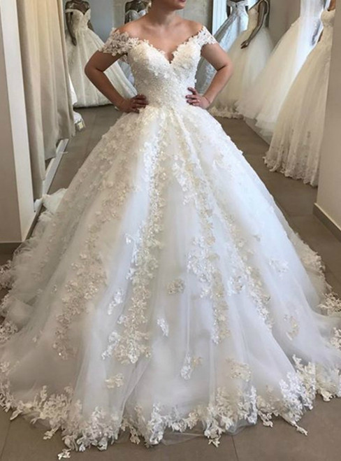 Come In All Styles And Colors White Ball Gown Tulle Off the Shoulder Lace Appliques Wedding Dress