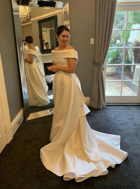 Find Your Dress For Prom! A-Line White Satin Off the Shoulder Ruffles Wedding Dress