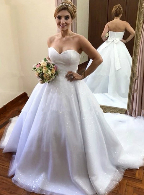 Best For You White Ball Gown Tulle Sweetheart Wedding Dress With Bow