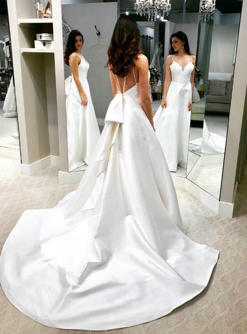 Is Now Available. A-Line White Satin Double Straps Backless Wedding Dress