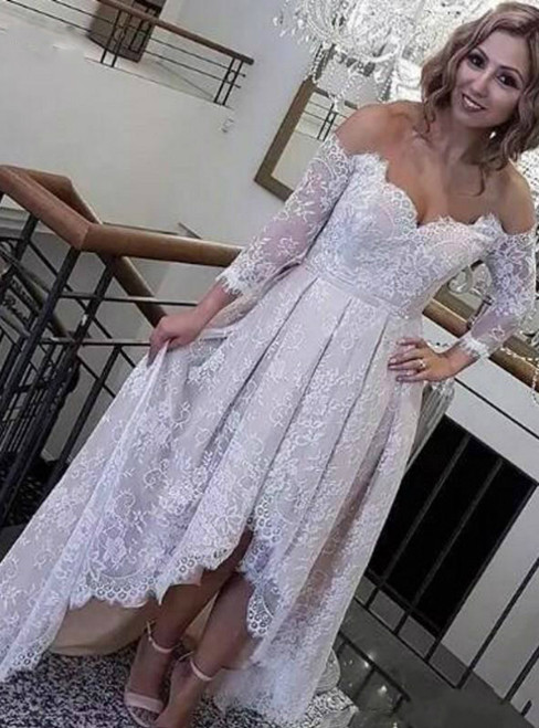 For This Year's Biggest Dance A-Line Hi Lo Lace Off the Shoulder Long Sleeve Wedding Dress