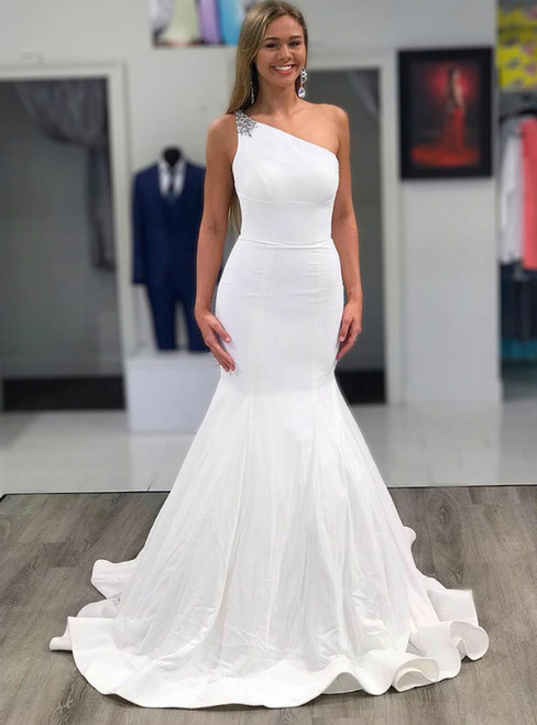 Make Your Prom a Dream Sexy White Mermaid Satin One Shoulder Beading Wedding Dress