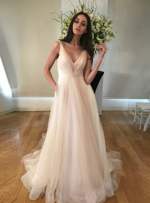 In One Step A-Line Pink Tulle V-neck Pleats Sleeveless Wedding Dress