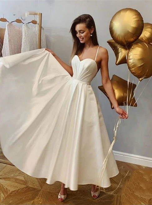Is a Rite Of Passage White Satin Spaghetti Ankle Length Sweetheart Wedding Dresses