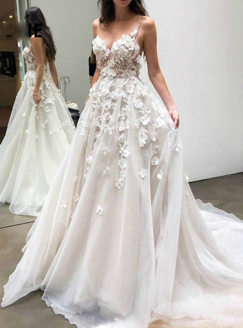 At Incredible Price Champagne Tulle Spaghetti Strap 3D-Floral Appliques Wedding Dress