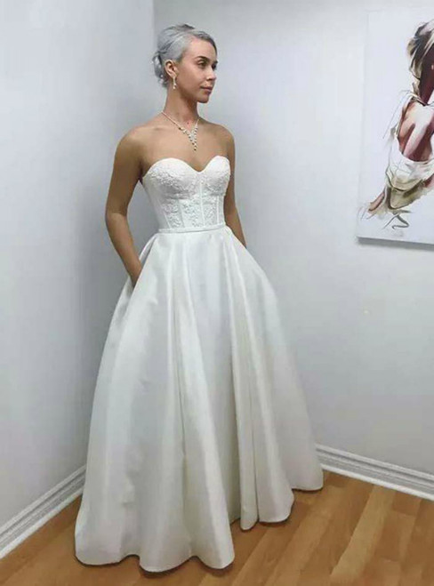 Fit Your Body Type A-Line White Satin Sweetheart Lace Wedding Dress With Pocket