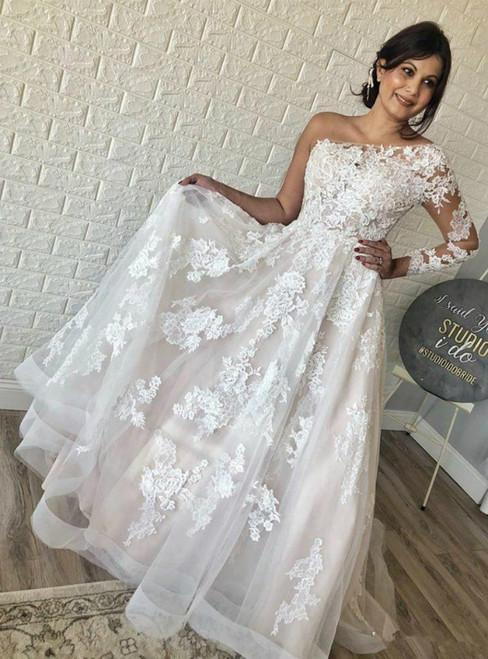 Fit Your Fashion Sense A-Line Ivory Tulle Lace Appliques One Shoulder Wedding Dress