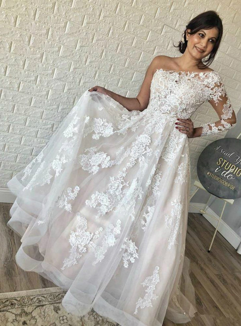 Fit Your Fashion Sense A-Line Ivory Tulle Lace Appliques One Shoulder Wedding Dress