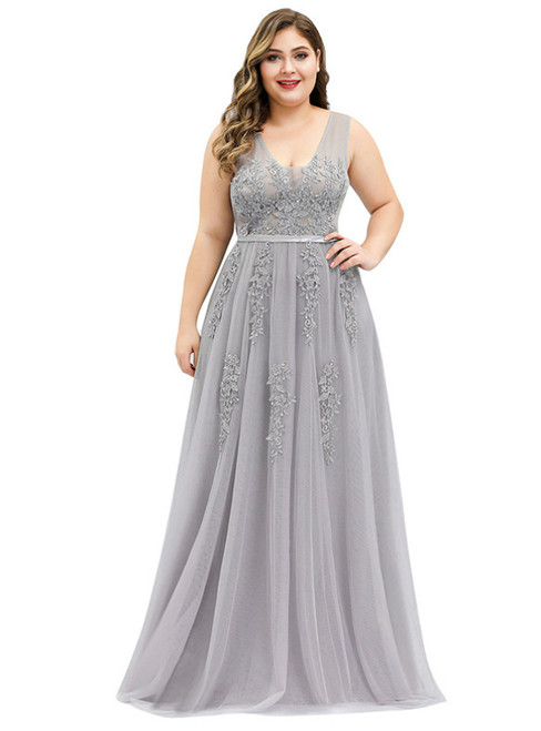 It's Prom Season Gray Tulle V-neck Appliques Beading Plus Size Prom Dress