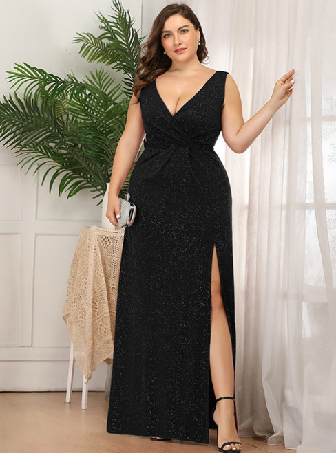 Browse Our Lovely A-Line Black V-neck Pleats Plus Size Prom Dress With Split