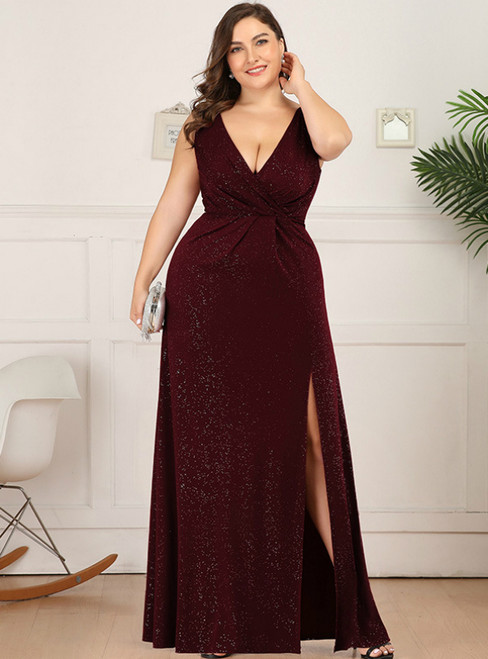 Amazing & Affordable Burgundy Tulle V-neck Appliques Beading Plus Size Prom Dress