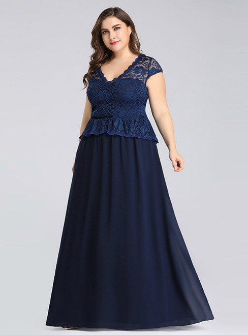 We Carry Navy Blue Chiffon Lace V-neck Cap Sleeve Plus Size Prom Dress
