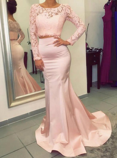 Charming Long Sleeve Pink Satin Lace Two Piece Evening Dress
