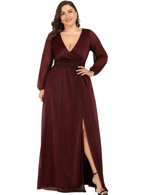 The Best A-Line Burgundy Tulle V-neck Long Sleeve Plus Size Prom Dress